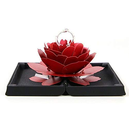 ZBHSJ Verlovingsring Box, 3D Pop Up Rose Ring Holder, Trouwring Box, adembenemende sieraden geschenk voor bruiloft (rood)