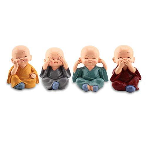 LHKJ 4 Pcs Buda Monjes Estatuilla Decoraciones del Coche, Las Artesanías de la Resina, Regalo Agradable para Decoración de Coche, Hogar, Escritorio