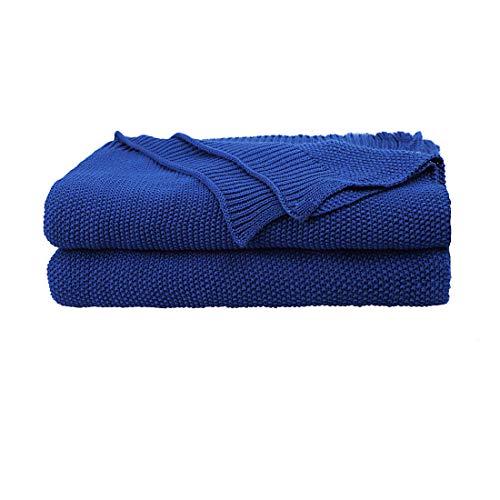 PiccoCasa Tagesdecke Baumwolle Strickdecke Sommerdecke leicht zu pflegen ges& als Sofadecke Sofaüberwurf für Fernsehen oder Lesen usw. Königsblau 150x200cm