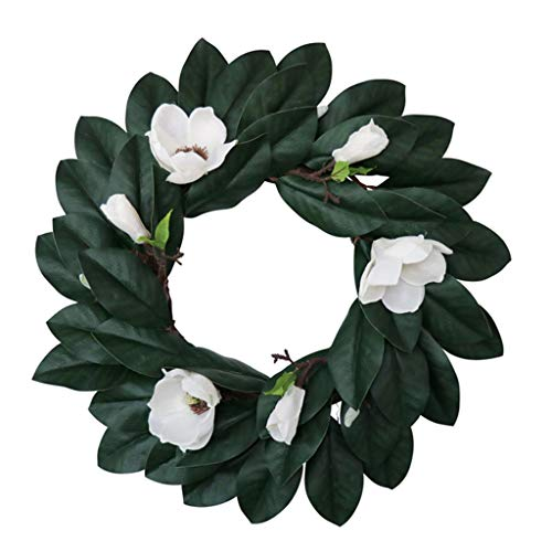6Wcveuebuc Artificial Magnolia Wreath with Magnolia Leaves& Flowers 20 Inches for Festival Celebration Front Door Wreath Wall Window Party