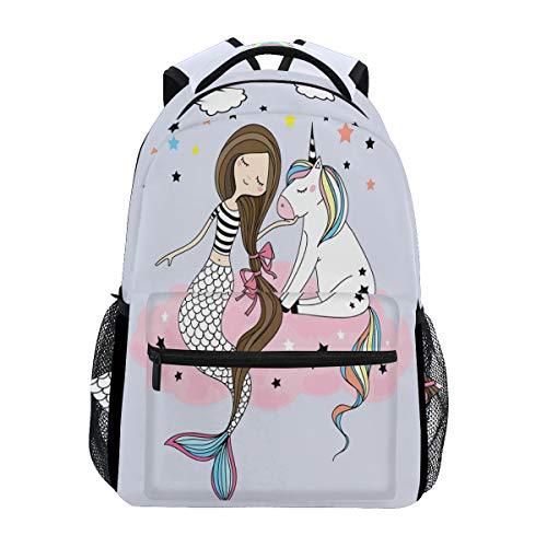 ZZKKO Ocean Sea Mermaid Girl Unicorn Backpacks College School Book Bag Travel Hiking Camping Daypack