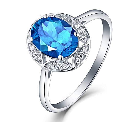 Adokiss Jewellery Ring 750 18K Large Blue Oval Topaz 1.33ct Brilliant Engagement Ring Ladies Wedding Rings White Gold Anniversary Gift White Gold