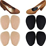 Chiroplax High Heel Cushion Inserts Pads (4 Pairs) Suede Ball of Foot Forefoot Metatarsal Anti Slip Shoe Insoles for Women (Beige+Black, Normal Thickness)