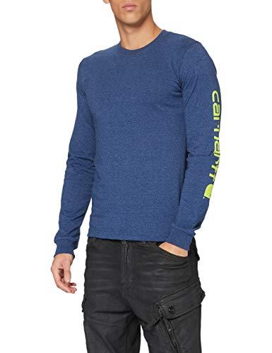 Carhartt Signature Logo Long-Sleeve T-Shirt Camiseta, Dark Cobalt Blue Heather, M para Hombre