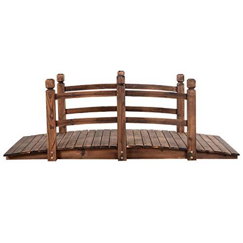 Goplus Ponte di Legno da Giardino, Carrico Massimo di 100kg 150x67x55 cm