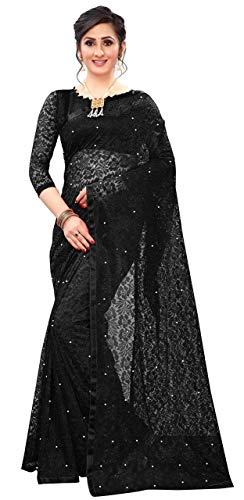 Evess Women's Jacquard Net Saree With Unstiched Blouse Piece (Black)