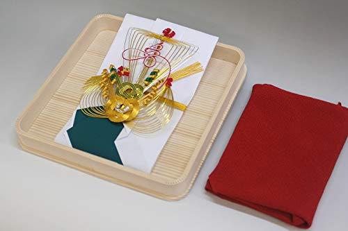 結納金袋(青白)寿宝船・ヘギ台付・正絹ちりめん風呂敷68cm(エンジ)付き