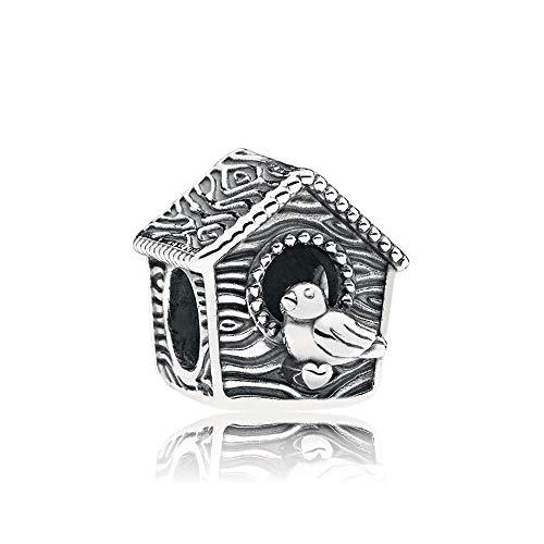 Auténtica Pandora 925 Cuentas De Plata Esterlina Diy Bird House Charm Fit Moda Mujer Pulsera Brazalete Joyería De Regalo