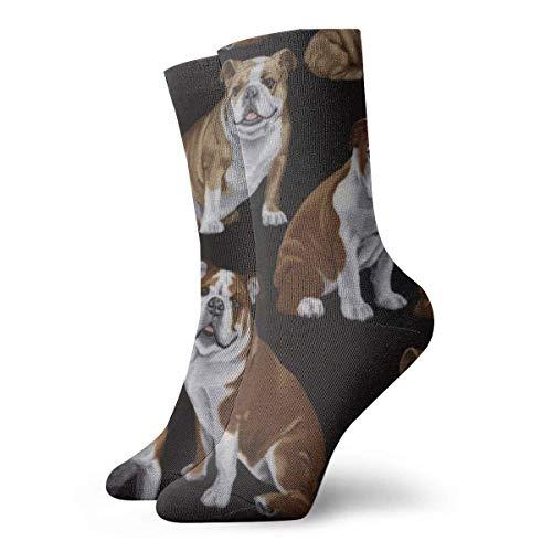 LLeaf Calcetines casuales coloridos frescos - Calcetines casuales divertidos de la novedad Bulldogs ingleses