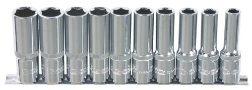 """KS Tools 918.0610 1/4"""" CHROMEplus Sechskant-Stecknuss-Satz, lang, 10-tlg. 4-13mm"""