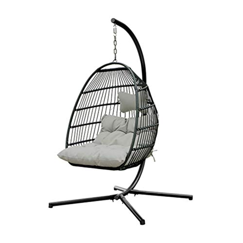 Hanging Chair Indoor Outdoor Patio Wicker Hanging Chair with Stand Swing Egg Chairs 265 Pounds Max for Patio Backyard Balcony