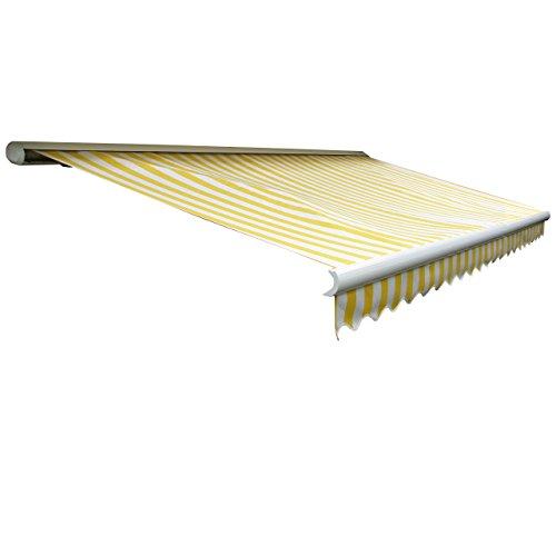 Mendler Elektrische Kassetten-Markise T122, Vollkassette Volant 4x3m - Acryl Gelb/Weiß