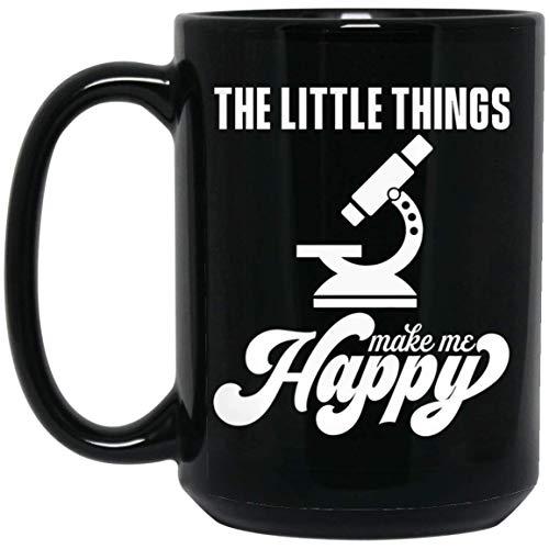 Tea cup The Little Things Make Me Happy Mug For Biologist, Microbiology Coffee Mug 15oz Gift, Microscope Biology mug gift, gift for christmas, vintage cup, mugs funny.