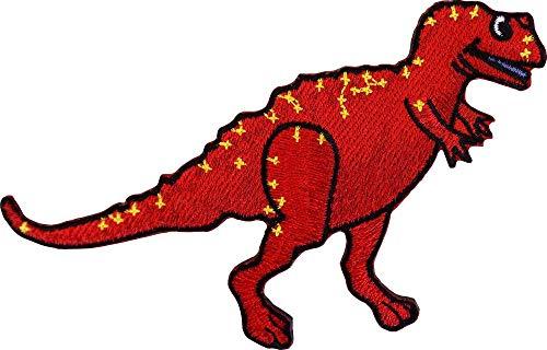Roter Allosaurus Dinosaurier – Ausschnitt bestickter Aufnäher zum Aufbügeln oder Aufnähen