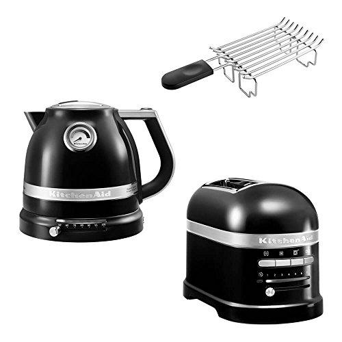 KitchenAid Artisan Frühstücks Set | incl. Wasserkocher 5KEK1522, 2 Scheiben Toaster 5KMT2204 und Brötchenaufsatz | für einen perfekten Start in den Tag! (Onyx Schwarz)