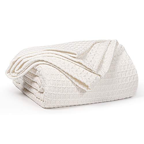 EHC Luxuriös weiche, klobige Waffelbaumwolle Große Schlafsofa Decke Tagesdecke, 150 x 200 cm - Elfenbein
