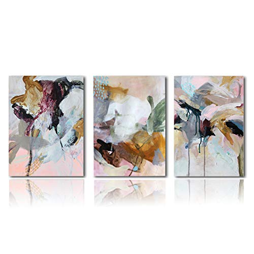 Meigan Art Canvas Prints Wall Art Abstract Painting Prints Wall Decor Contemporary Painting Modern Artwork Pictures Framed Ready to Hang (16X24InchX3)