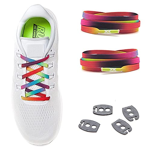MAXX laces elastische Schnürsenkel flach für alle Schuhe - Schnellverschluss Schnürbänder ohne binden für Damen, Herren, Kinder - Sneaker, Sportschuh, Arbeitsschuh, Trekkingschuh [Rainbow]