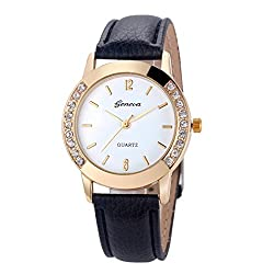 Auwer Watches, 2019 Black Geneva Fashion Women Diamond Analog Leather Quartz Wrist Watch Watches (A)