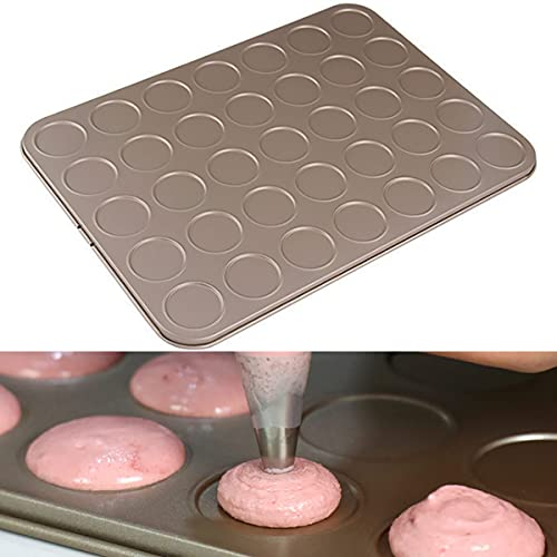 Dadamong Macaron Cake Pan, 35-Cavity Carbon Steel Cookie Sheet Macaron Mold Pan, Non-Stick Macaron Biscuits Cookie Shallow Bakeware for Oven Baking, Heavy Duty Baking Tray, Champagne Gold
