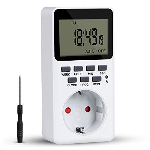 Digitale Zeitschaltuhr mit 20 Konfigurierbare Programme, Zeitschaltuhr Steckdose mit Kinderschutzsicherung Programmierbarer Plug-In-Timer-Schalter, LCD Display und Einbruchsicheren Zufallsschaltung