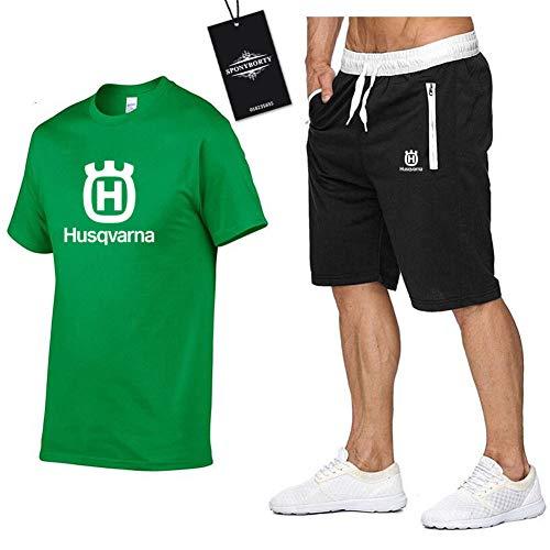 Gyulyaydin Hombres Y Mujer Camiseta Bermudas Chandal Conjunto por Husqvarna Dos Piezas Corto Manga Tee Pantalones Ropa Deportiva Y/Green/XL
