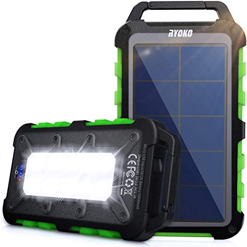 Solar Power Bank 10000mah, Ryoko Portable Solar Charger Ipx4 Waterproof Phone External Battery for Hiking Camping Backpacking, Dual Fast Charger for Cell Phone, LED Source of Dark Lifesaver (Green)