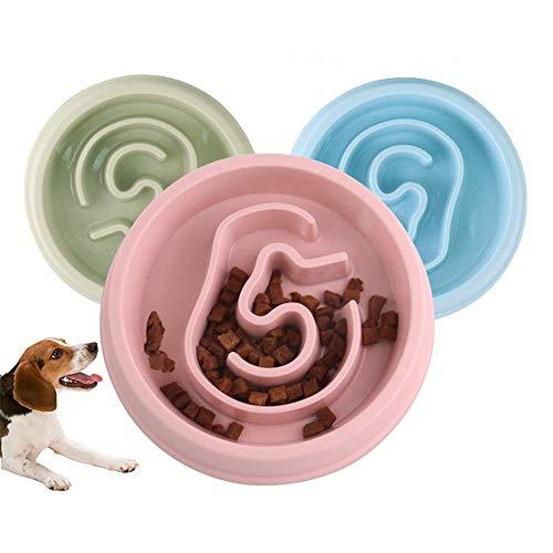 Alimentador lento y saludable para perros y gatos - Alimentador lento para perros - Alimentador interactivo - Alimentador lento para perros Alimentador para gatos - Bloat Pet Stop Dog Bowl (Rosado)