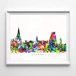 Chennai India Watercolor Skyline Poster Cityscape Wall Art Print Home Decor Watercolour Artwork - Unframed