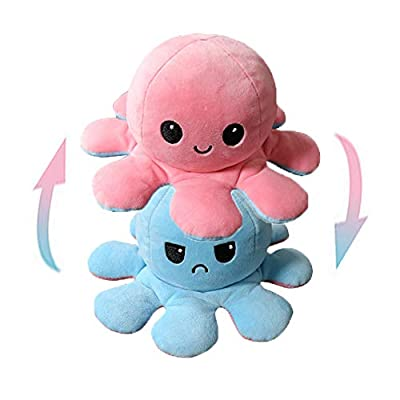 Essoy Double-Sided Flip Octopus Doll Small Stuffed Animal,Cute soft toys,Gifts for boy,girl and lovers(Light Blue-Pink) by Essoy
