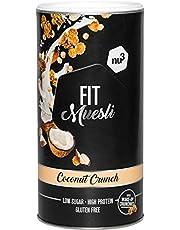 nu3 Fit Protein Muesli - Avena con proteína sabor Coconut Crunch - 450 g de muesli proteico con coco, almendras, guaraná y matcha - 36% de proteínas y solo 4% de azúcar – Ideal en dietas sin gluten