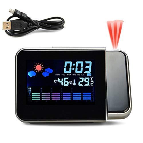 Wecker LED Digital Projektion Wecker mit USB Projektor Schlummeruhr für Wetterstation Thermometer Zeit Kalender Datum Anzeige Schwarz Projektion USB
