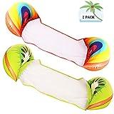 2 paquetes de hamacas inflables de agua para piscina, flotadores multiusos para alberca, silla flotante portátil y duradera para adultos, arco iris, fruta kiwi