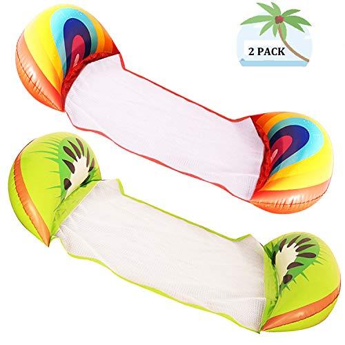 2 paquetes de hamaca de agua inflable flotador multiuso para piscina, tumbona portátil y duradera silla flotante para adultos, arco iris, fruta kiwi