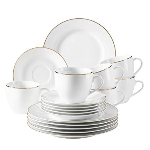 MÄSER 931532 Professional Dining, Kaffeeservice für 6 Personen in Weiß mit Goldrand, 18-teiliges Kaffeegeschirr Set, Porzellan