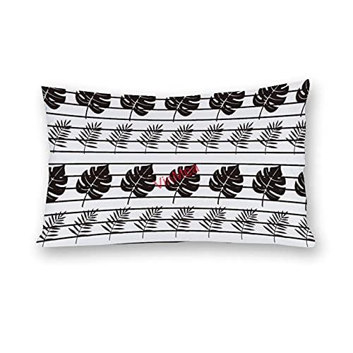 VinMea Fundas de almohada lumbar, de algodón, de hoja de palma, para sofá, hogar, oficina, decoración, 40,6 x 60,6 cm