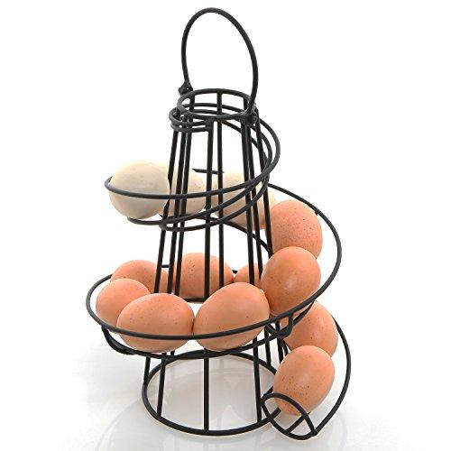 MyGift Deluxe Modern Spiraling Design Black Metal Freestanding Egg Skelter/Dispenser Rack