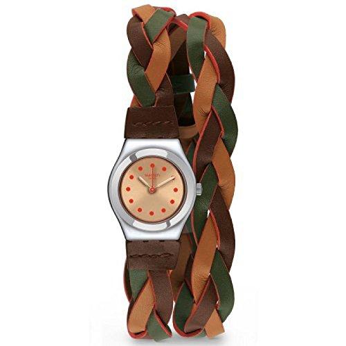 Reloj Swatch Irony Lady YSS295 de cuarzo (batería) de acero, esfera multicolor, correa de piel