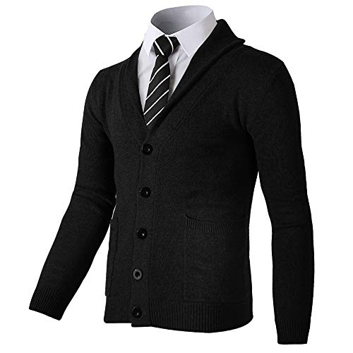 Men's Shawl Collar Cardigan Sweaters Casual Slim Fit Knit Button Up with Pockets (Black, M)