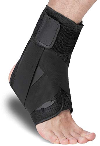 Siwei Lace Up Ankle Brace for Sprained Ankle, Adjustable Ankle Stabilizer for Men & Women, Figure 8 Ankle Support Brace for Volleyball, Basketball, Injury Recovery! (L)