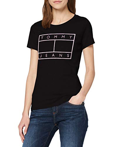 Tommy Jeans Damen Tjw Metallic Flag Tee T-Shirt, Schwarz (Black Bds), 32 (Herstellergröße: X-Small)