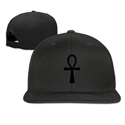Black Ankh Cross Symbol Unisex Adjustable Flat Bill Visor Hip-Hop Hat