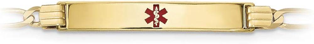 14k Yellow Gold Medical Red Enamel Figaro ID Bracelet