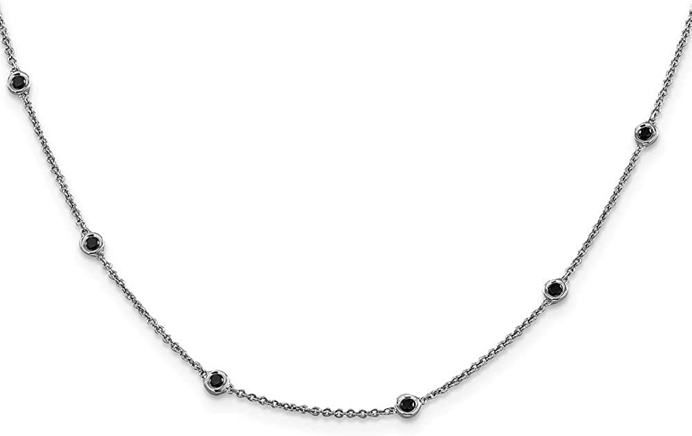 Chain Necklace 14K White Gold Diamond 16 in 1 mm Polished Black