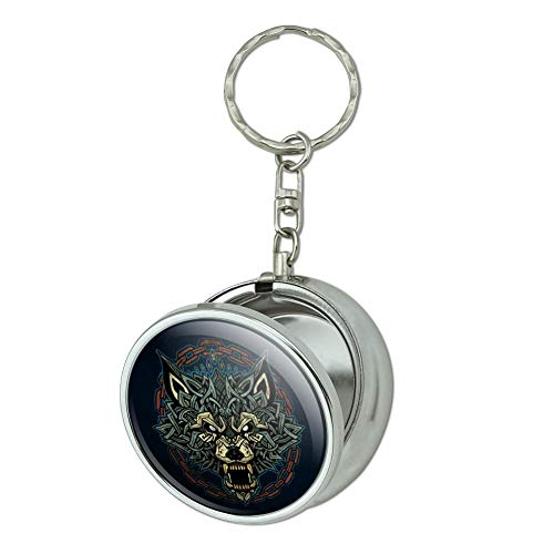 GRAPHICS & MORE Fenrir Fierce Snarling Wolf in Chains Norse Mythology Portable Travel Size Pocket Purse Ashtray Keychain with Cigarette Holder