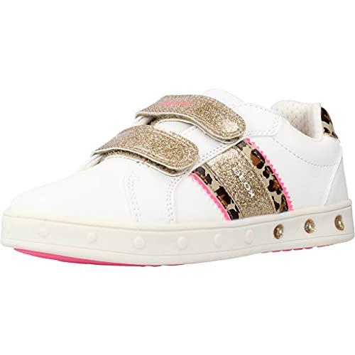 Geox J Skylin Girl H Sneaker, White/FLUOFUCHSIA, 31 EU
