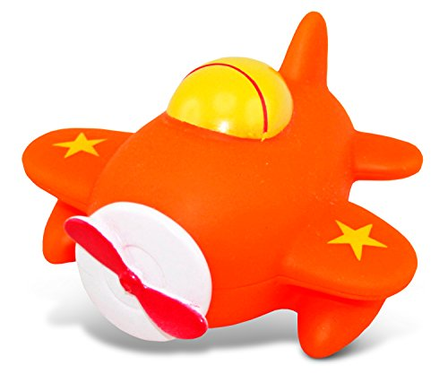 DolliBu Airplane Bath Buddy Squirter - Floating Orange Airplane Rubber Bath Toy, Fun...