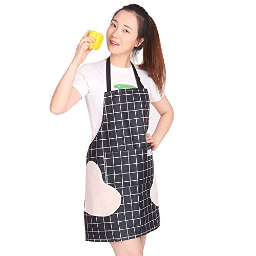 Kitchen Apron Waterproof OilProof Erasable Hand Adjustable Bib Cooking Aprons with Pockets for Women Men Dishwashing Baking Grill Restaurant Durable Black Medium/Lengthen Small