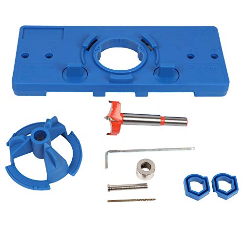 35mm Hinge Hole Jig Drill Guide Set, Closet Door Hole Jig, Puncher Hinge Drilling Tool Set, For Cabinet Door Installation,woodworking Boring Position Locator Tool Kit (BLUE)