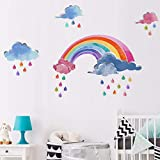 Kids Wall Decals Rainbow Clouds Raindrops Wall Art Stickers Watercolor Nursery Wall Decor for Babies Room Playroom